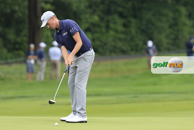 Webb Simpson (USA) putts on the 2nd green during Friday's Round 1 of the 2016 U.S. Open Championship held at Oakmont Country Club, Oakmont, Pittsburgh, Pennsylvania, United States of America. 17th June 2016.<br /> Picture: Eoin Clarke | Golffile<br /> <br /> <br /> All photos usage must carry mandatory copyright credit (&copy; Golffile | Eoin Clarke)