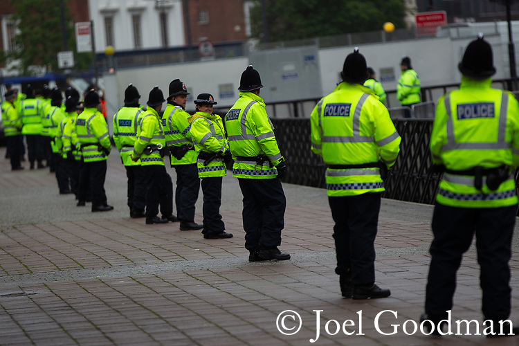 © Joel Goodman - 07973 332324 . 09/06/2012. Rochdale , UK. Police in Rochdale Town Centre ahead of the demonstration . The English Defence League ( EDL ) hold a march and rally in Rochdale Town Centre . Photo credit : Joel Goodman