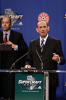 MLS Commissioner Don Garber during the first round of the MLS SuperDraft at the Indiana Convention Center, Indianapolis, IA, on Jan 12, 2007.