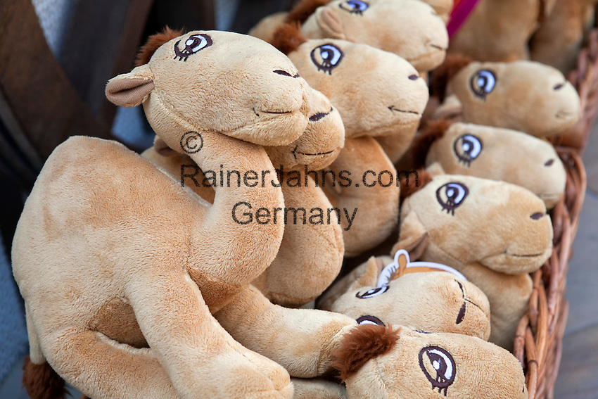 United Arab Emirates, Dubai: Camel soft toys on sale in tourist souvenir shop