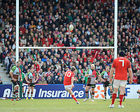 Ronan O'Gara of Munster Rugby takes a penalty kick during the Heineken Cup quarter final match between Harlequins and Munster at the Twickenham Stoop on Sunday 7th April 2013 (Photo by Rob Munro)