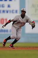Hickory Crawdads Jurickson Profar #10 moves into position to make a play during a  game against the Asheville Tourists at McCormick Field in Asheville,  North Carolina;  June 12, 2011.  The Crawdads won the game 12-3.  Photo By Tony Farlow/Four Seam Images
