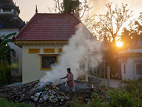 Burning rubbish, Monastery life and generic scenery in Battambang, Cambodia