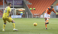 Blackpool's Harry Pritchard gets a shot on goal<br /> <br /> Photographer Mick Walker/CameraSport<br /> <br /> The EFL Sky Bet League One - Blackpool v Bristol Rovers - Saturday 3rd November 2018 - Bloomfield Road - Blackpool<br /> <br /> World Copyright &copy; 2018 CameraSport. All rights reserved. 43 Linden Ave. Countesthorpe. Leicester. England. LE8 5PG - Tel: +44 (0) 116 277 4147 - admin@camerasport.com - www.camerasport.com