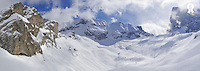 Snowy mountains and valley in winter, panoramic (Licence this image exclusively with Getty: http://www.gettyimages.com/detail/89955790 )
