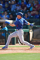 Gavin Lux (9) of the Los Angeles Dodgers follows through on a swing during a Cactus League Spring Training game against the Texas Rangers on March 8, 2020 at Surprise Stadium in Surprise , Arizona. Rangers defeated the Dodgers 9-8. (Tracy Proffitt/Four Seam Images)