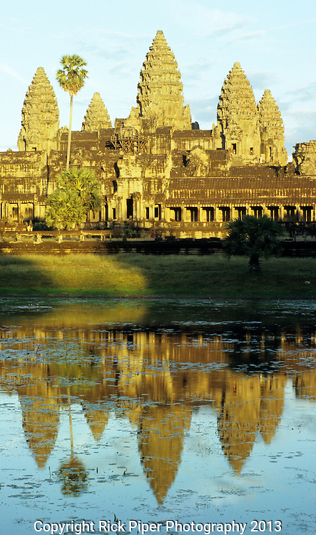 Angkor Wat Reflections 02 - Western entrance Gopura and towers reflected in pool, late afternoon, Angkor Wat Temple, Cambodia