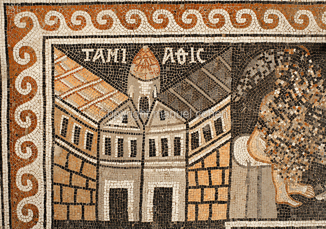 Detail of a Byzantine floor mosaic depicting Tamiathis Diametta on the Nile Delta, from the inner frame representing a river, from the cycle showing 15 major cities of the Holy Land from both east and west of the River Jordan, 756-785 AD, from the Church of St Stephen, Umm ar-Rasas, Amman, Jordan. Six mosaic masters signed the mosaic floor, Staurachios from Esbus, Euremios, Elias, Constantinus, Germanus and Abdela. They completed the mosaics at the time of Bishop Sergius II in honour of St Stephen. The church has an apse and an elevated presbytery and forms part of an ecclesiastical complex of 4 churches. Umm ar-Rasas is a rectangular walled city which grew from a Roman military camp in the Jordanian desert. Its remains date from the Roman, Byzantine and Umayyad periods (3rd - 9th centuries), including 16 churches with mosaic floors. Excavations began in 1986, although most of the site remains unexplored. It was declared a UNESCO World Heritage Site in 2004. Picture by Manuel Cohen