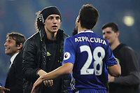 David Luiz of Chelsea looks shocked as he speaks with Cesar Azpilicueta after the match during Chelsea vs Watford, Premier League Football at Stamford Bridge on 15th May 2017
