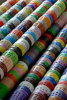 Multi-coloured bobbins give an idea of the vast range of felt the factory produces