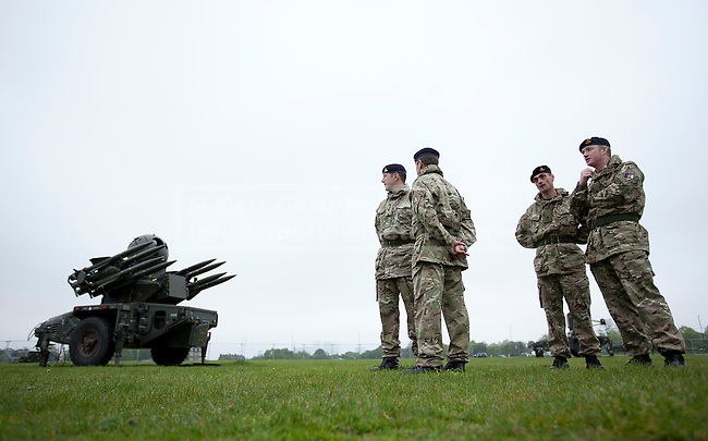 03/05/2012. LONDON, UK. A Rapier surface to air missile system (SAM) and members of 16 Regiment Royal Artillery, are seen on Blackheath in London today (03/0512). The missiles have been deployed as part of an exercise involving the RAF, British Army and Royal Navy taking place across London as part of security preparations for the 2012 London Olympic Games. Photo credit: Matt Cetti-Roberts