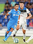 Getafe CF's Angel Rodriguez (l) and Atalanta BC's Berat Djimsiti during friendly match. August 10,2019. (ALTERPHOTOS/Acero)