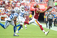 Landover, MD - September 16, 2018: Washington Redskins wide receiver Josh Doctson (18) tries to catch a pass during the  game between Indianapolis Colts and Washington Redskins at FedEx Field in Landover, MD.   (Photo by Elliott Brown/Media Images International)
