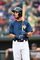 Third baseman Rigoberto Terrazas (9) of the Columbia Fireflies bats in a game against the Greenville Drive on Sunday, May 27, 2018, at Spirit Communications Park in Columbia, South Carolina. Greenville won, 3-0. (Tom Priddy/Four Seam Images)