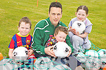 ON THE BALL: Getting ready for the Easter soccer camps in Lisselton, l-r: Adam O'Mahony, Paul O'Mahony, Eoin O'Mahony, Lauren Costello.