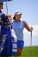 Mirim Lee (KOR) chats with So Yeon Ryu (KOR) on the number 2 tee during Sunday's final round of the 72nd U.S. Women's Open Championship, at Trump National Golf Club, Bedminster, New Jersey. 7/16/2017.<br /> Picture: Golffile | Ken Murray<br /> <br /> <br /> All photo usage must carry mandatory copyright credit (&copy; Golffile | Ken Murray)