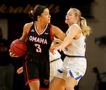 BROOKINGS, SD - FEBRUARY 8: Akili Felici #3 of the Omaha Mavericks looks for help while being pressured by Sydney Stapleton #35 of the South Dakota State Jackrabbits at Frost Arena February 8, 2020 in Brookings, South Dakota. (Photo by Dave Eggen/Inertia)
