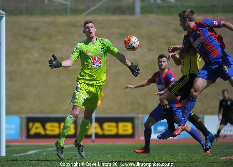 Action from the ASB Premiership Football match between Wellington Phoenix Premiers (yellow and black) and WaiBoP United at Newtown Park, Wellington, New Zealand on Saturday, 9 January 2016. Photo: Dave Lintott / lintottphoto.co.nz