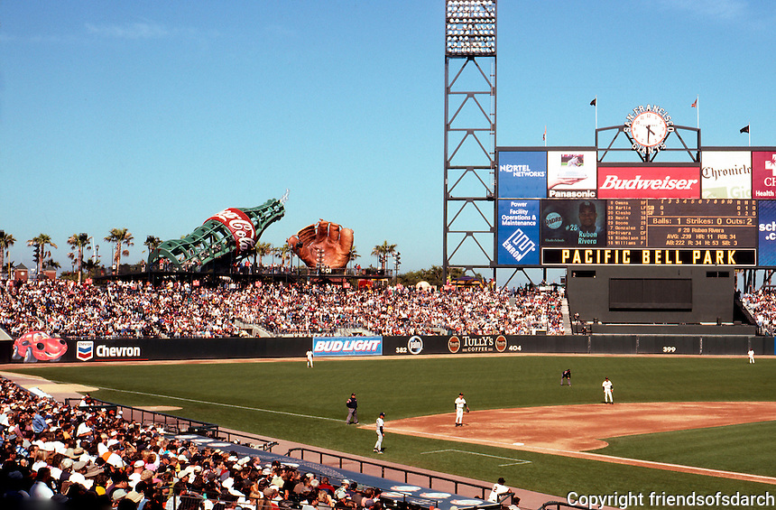 Ballparks: San Francisco Pacific Bell Park. View to left. The instantly famous coke bottle slide and fielder's glove.