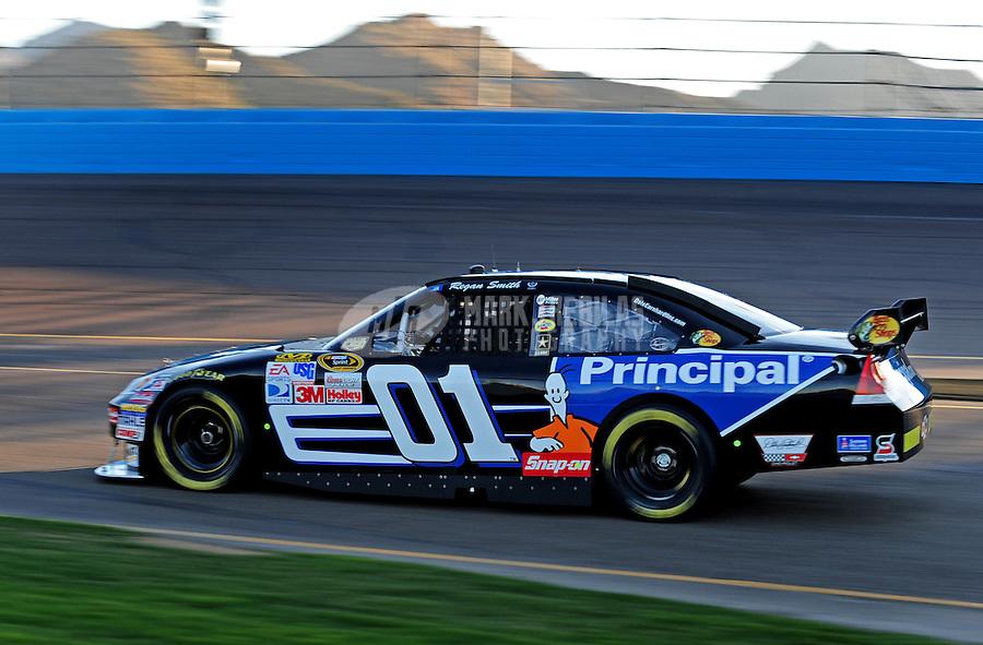 Nov. 7, 2008; Avondale, AZ, USA; NASCAR Sprint Cup Series driver Regan Smith during qualifying for the Checker Auto Parts 500 at Phoenix International Raceway. Mandatory Credit: Mark J. Rebilas-