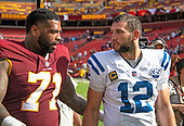 Washington Redskins offensive tackle Trent Williams (71) congratulates Indianapolis Colts quarterback Andrew Luck (12) following the game at FedEx Field in Landover, Maryland on Sunday, September 16, 2018.  The Colts won the game 21 - 9.<br /> Credit: Ron Sachs / CNP