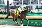 May 03, 2019 :#4 Break Even and jockey Shaun Bridgmohan win the 64th running of The Eight Belles Grade 2 $250,000 for owner Klein Racing and trainer Brad Cox at Churchill Downs on May 03, 2019.  Candice Chavez/ESW/CSM