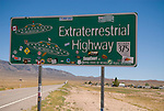 Nevada Highway 375 sign: Extraterrestrial Highway covered with bumper stickers. In summer of 2008, only two of the original four signs remains; both at Rachel.