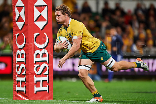 17.09.2016. Perth, Australia.  Michael Hooper of the Qantas Wallabies breaks over the line for a try during the Rugby Championship test match between the Australian Qantas Wallabies and Argentina's Los Pumas from NIB Stadium - Saturday 17th September 2016 in Perth, Australia.