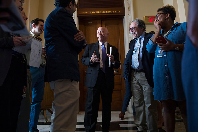 UNITED STATES - JULY 26: Ways and Mean Chairman Kevin Brady, R-Texas, talks with reporters in the Capitol on July 26, 2018. (Photo By Tom Williams/CQ Roll Call)