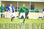 Stan Divane breaks away from Ballina Daniel Gorman during their FAI cup clash in Tralee on Sunday