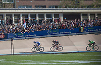 Finish sprint with Zdenek Stybar (CZE/Quick Step Floors), Greg Van Avermaet (BEL/BMC) and Sebastian Langeveld (NED/Cannondale-Drapac)<br /> <br /> 115th Paris-Roubaix 2017 (1.UWT)<br /> One day race: Compi&egrave;gne &gt; Roubaix (257km)