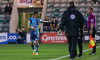 Paris Cowan-Hall of Wycombe Wanderers protests to a refeee's asssistant after Plymouth's third goal during the Sky Bet League 2 match between Plymouth Argyle and Wycombe Wanderers at Home Park, Plymouth, England on 26 December 2016. Photo by Mark  Hawkins / PRiME Media Images.
