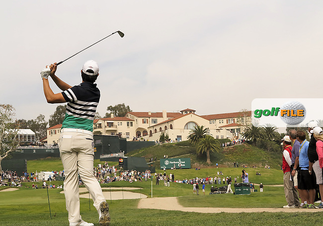 15 FEB 13 Sang Moon Bae watches his fairway shot land on the 9th green from the rough during Saturday's Third Round of The Northern Trust Open at Riviera Country Club in Pacific Palisades,California. photo credit :  (kenneth e. dennis/kendennisphoto.com)