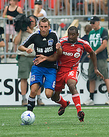 Darren Huckerby (6) and Marvell Wynne (16) battle for the ball at BMO Field on July 19, 2008. Final score was 0-0.