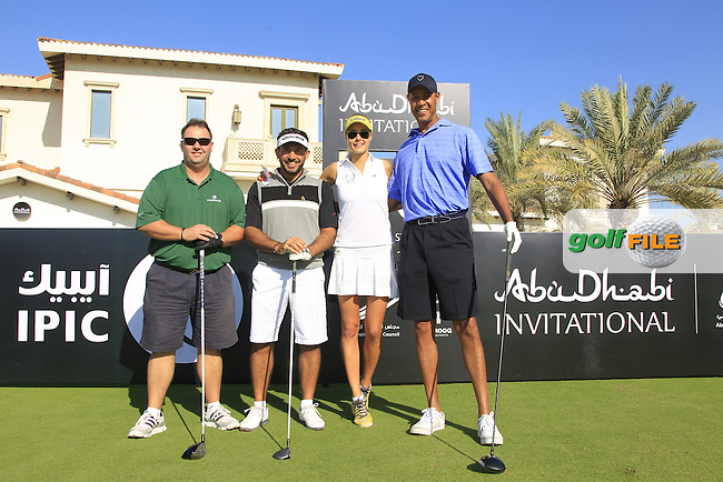 Tinus Hendrikse, Salem Bin Desmal, Simona Dvorakova and Ric Lewis on the 10th tee to start their match during the 2015 Abu Dhabi Invitational Am-Am event held at Yas Links Golf Course, Abu Dhabi.: Picture Eoin Clarke, www.golffile.ie: 1/26/2015