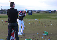Padraig Harrington (IRL) wearing a swing sleeve during the practice days before the 2014 Alfred Dunhill Links Championship, The Old Course, St Andrews, Fife, Scotland. Picture:  David Lloyd / www.golffile.ie