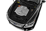 Car Stock 2016 Lexus LS 600h L 4 Door Sedan Engine  high angle detail view