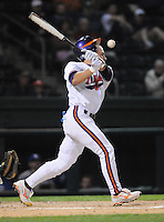 Outfielder Addison Johnson (18) of the Clemson Tigers in a game against the Presbyterian College Blue Hose on Wednesday, March 16, 2011, at Fluor Field in Greenville, S.C.  Photo by Tom Priddy / Four Seam Images