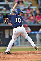 Asheville Tourists right fielder Jordan Patterson #10 awaits a pitch during a game against the Lakewood BlueClaws at McCormick Field on May 3, 2014 in Asheville, North Carolina. The BlueClaws defeated the Tourists 7-4. (Tony Farlow/Four Seam Images)