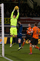 8th November 2019; Dens Park, Dundee, Scotland; Scottish Championship Football, Dundee Football Club versus Dundee United; Benjamin Siegrist of Dundee United clutches a cross under pressure from Danny Johnson of Dundee  - Editorial Use