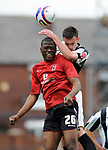 Guylain Mdumbu Nsungu of Darlington and Rory McArdle of Rochdale during the League Two playoff match at The Spotland, Stadium, Rochdale. Picture date 10th May 2008. Picture credit should read: Simon Bellis/Sportimage