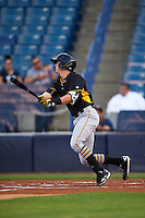 Bradenton Marauders shortstop Kevin Newman (5) at bat during a game against the Tampa Yankees on April 11, 2016 at George M. Steinbrenner Field in Tampa, Florida.  Tampa defeated Bradenton 5-2.  (Mike Janes/Four Seam Images)