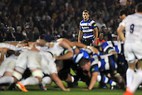 Max Clark watches a scrum. Aviva A-League match, between Bath United and Saracens Storm on September 29, 2014 at the Recreation Ground in Bath, England. Photo by: Patrick Khachfe / Onside Images