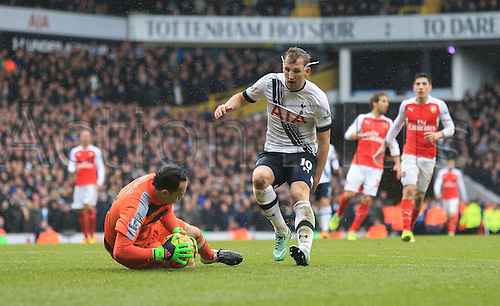 05.03.2016. White Hart Lane, London, England. Barclays Premier League. Tottenham Hotspur versus Arsenal. David Ospina of Arsenal gathers the ball from the onrushing Harry Kane of Tottenham Hotspur .