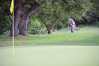 Keegan Bradley (USA) chips on to 8 from under a tree during round 1 of the Valero Texas Open, AT&amp;T Oaks Course, TPC San Antonio, San Antonio, Texas, USA. 4/20/2017.<br /> Picture: Golffile | Ken Murray<br /> <br /> <br /> All photo usage must carry mandatory copyright credit (&copy; Golffile | Ken Murray)