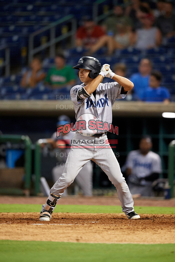 Tampa Tarpons second baseman Hoy Jun Park (1) at bat during a game against the Clearwater Threshers on July 31, 2018 at Spectrum Field in Clearwater, Florida.  Clearwater defeated Tampa 4-2.  (Mike Janes/Four Seam Images)
