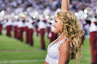 Freshman pre-accounting major Ali E. Evans of Brookhaven and other Spirit Group members, along with the Famous Maroon Band, perform during Saturday's [Sept. 12] home-game opener against Louisiana State University. Mississippi State dropped a tough 21-19 decision, but fans of all ages showed their unwavering support and excitement for another year of Bulldog Football at Davis Wade Stadium. Next, the Bulldogs host Northwestern State University Saturday [Sept. 19]  at 3 p.m. The game will be televised by the SEC Network. Fans in the upper level are encouraged to wear maroon; those in the lower level, white.<br />