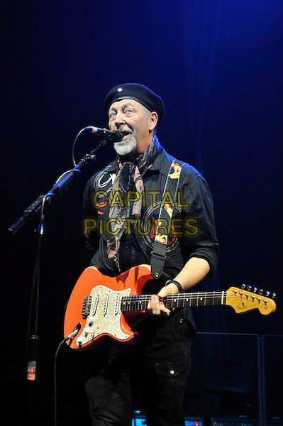 Richard Thompson.performing in concert, Shepherd's Bush Empire, London, England. .25th February 2013.on stage lie gig performance music half length hat flat cap scarf black shirt  singing guitar goatee facial hair .CAP/MAR.© Martin Harris/Capital Pictures.