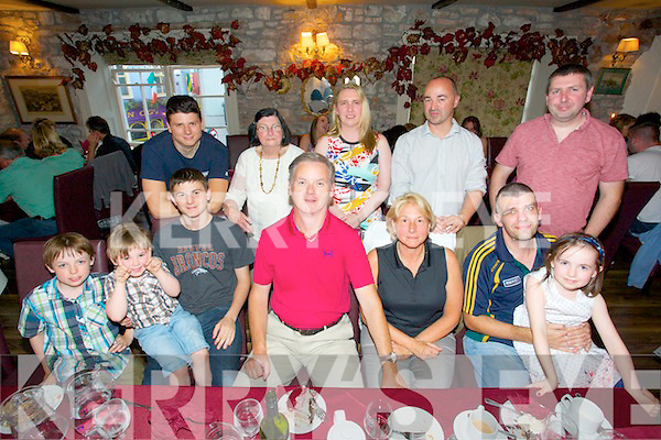 David Nolan from Galway/Kingston/Kerry celebrating his 50th Birthday with family at Cassidys on Sunday. Pictured  Front row left to right, Gerard O'Braion, Finn O'Braion, Robert Nolan, David Nolan, Karen Nolan, Liam Horan, Iseult Ni Braion, Back row left to right, Evan Nolan, Siobhan Horan, Noreen Horan, Patrick O'Braion, David Horan.