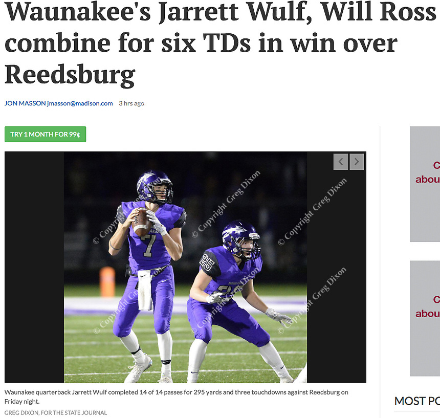 Waunakee quarterback, Jarrett Wulf drops back to pass behind the protection of Evan Zwettler, as Reedsburg takes on Waunakee in Wisconsin Badger North Conference high school football at Waunakee High School on Friday, 9/28/18 | Wisconsin State Journal article front page Sports 9/29/18 and online at https://madison.com/wsj/sports/high-school/football/waunakee-s-jarrett-wulf-will-ross-combine-for-six-tds/article_a1655f57-fe36-503a-8211-1506a67993fd.html